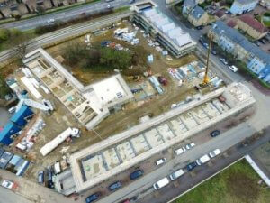 Aerial view of the Marmalade Lane site during construction