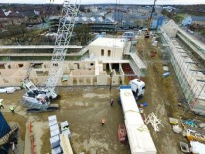 Aerial view of the Marmalade Lane cohousing collective custom-build site during construction