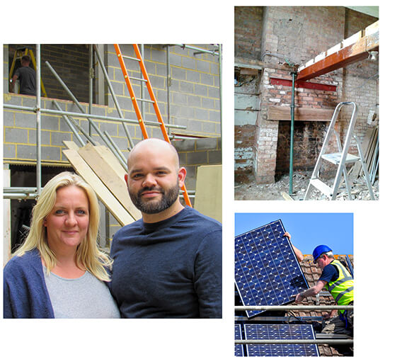 Three images; Ecology customers Daryl and Hannah during their build, the inside of a typical renovation and the installation of solar panels.